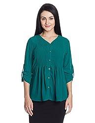 US Polo Women's Shirt (UWTO0247_Evergreen_Medium)