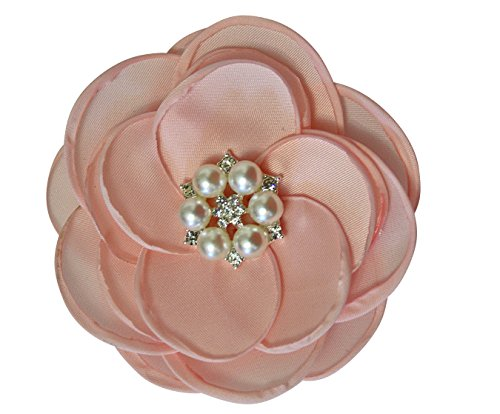 MIA White Satin Flower Rhinestone Pearl Hair Clip Wedding Hair Clip Bridal Hair Clip Bridesmaid Hair Clip First Communion Hairpiece Girls Hair Clip (Blush)