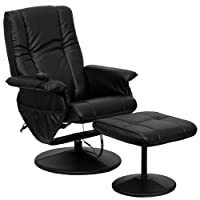 T & D Enterprises BT-7600P-MASSAGE-BK-GG Massaging Black Leather Recliner and Ottoman with Leather Wrapped Base from Flash Furniture
