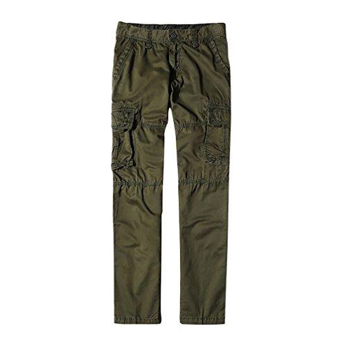 NiSeng Pantaloni da lavoro con Multitasche Pantaloni Lunghi Cargo Militari da uomo Army Green 34