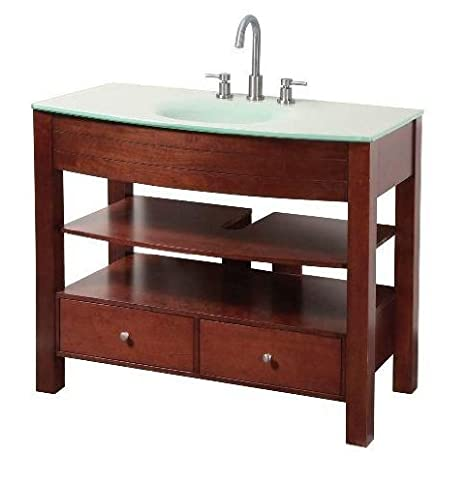 "Foremost DBCA4222 Danbury 42"" Vanity Combo with Glass Vanity Top & Sink, Dark Cherry"