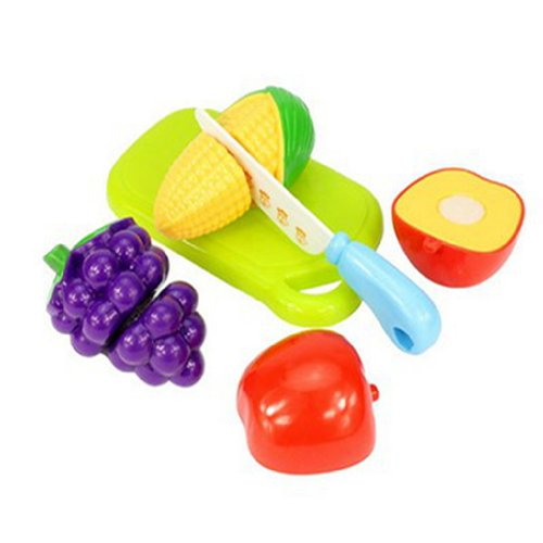 Pretend Play Food Cutable Velcro Sliceable Realistic Fruit Kitchen Kit Set Toy - 1