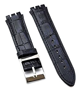 Fit Swatch SWC105 Leather Watch Strap 17mm Black Similar