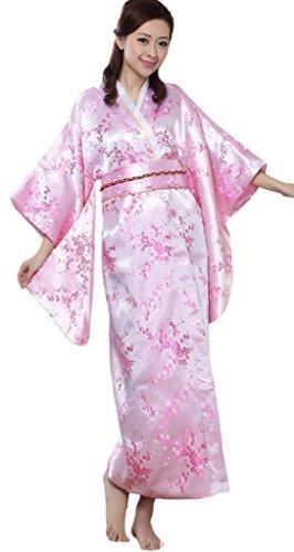 Bigood-Robe-de-Bain-Femme-Imitation-de-Soie-Kimono-Japonais-Long-Fleur-Rose