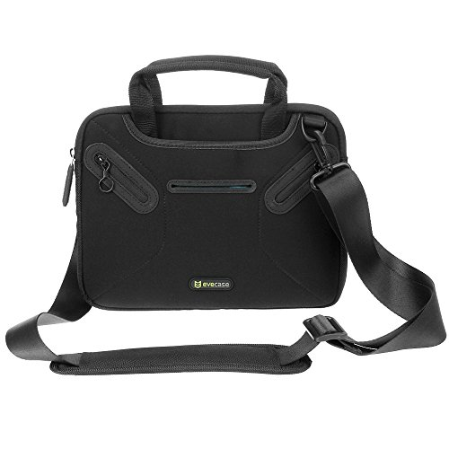 Evecase 8.9 ~ 9.7 Inch Tablet & Ipad Multi-Functional Neoprene Messenger Case Tote Bag With Handle And Carrying Strap (Black)
