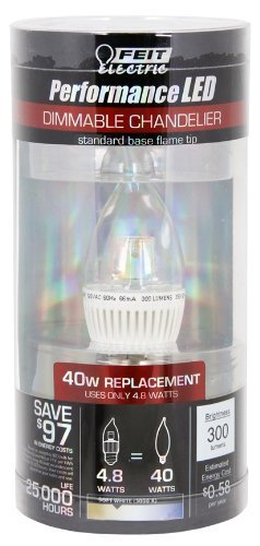Feit Efc/Dm/300/Led Led Dimmable Clear Chandelier Flame Tip
