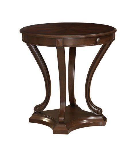 Cheap Round Accent End Table Pin-Wheel Design Top in Cherry Finish (998-711)