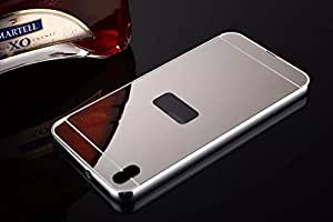 HTC Desire 816 Luxury Elegant Metal Aluminum Frame + Acrylic Plastic Mirror Back Cover (Silver)