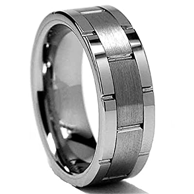 King Will Mens Classic Flat-top Brushed Center Tungsten Grooved Ring
