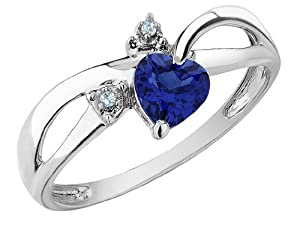 Created Sapphire Heart Ring with Diamonds 1/2 Carat (ctw) in 10K White Gold, Size 11
