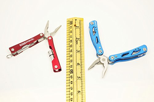 EdgeWorks Premium 2 Pack Pocket MultiTool 12-in-1 (Blue) and Keychain Mini Multi-Tool 8-in-1 (Red), Each Multi Tool has a Variety of Tools; Knife, Multi Pliers, Screwdrivers, Flashlight & More