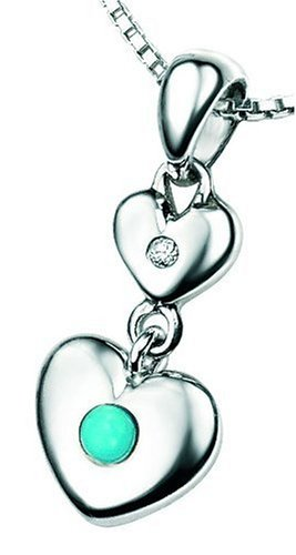 D for Diamond Sterling Silver P2961 Girls' Turquoise and Diamond Set Double Heart Pendant - December Birthstone