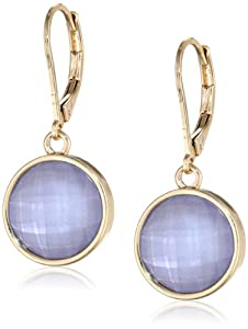 """Napier """"Color Theory"""" Gold Tone Purple Leverback Earrings"""