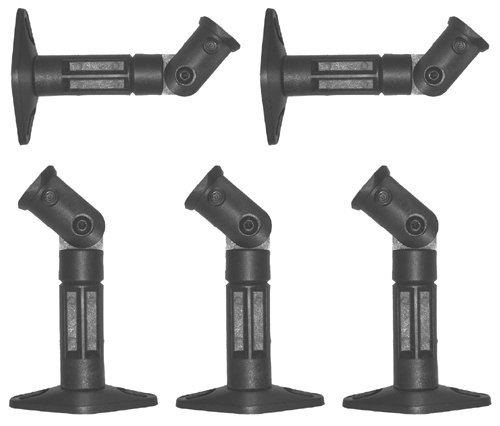 Ez Mounts - 5 Black Universal Satellite Speaker Mounts / Brackets For Walls And Ceilings Works With Bose, Denon, Infinity, Insignia, Kenwood, Lg, Jvc, Onkyo, Panasonic, Philips, Pioneer, Samsung, Sony, Yamaha, Zenith And Most Other Brands Of Satellite Spe