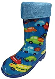Youth & Little Boys Youth Blue Big Cars, Buses Trucks Rain Snow Boots w/ Great Thick Lining (3.5)