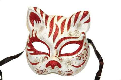 Venetian Masquerade Cat Mask With Red Pattern Decor