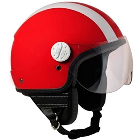 CGM CASQUE JET 109G MIAMI 2 BANDES ROUGE BLANC