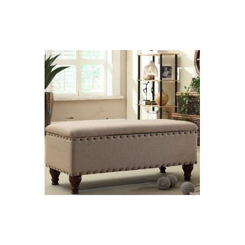 STYLISH Upholstered Nailhead Storage Bench in a Contemporary Design with Safety Hinged Lid. Perfect for an Entry Way, Hallway, Family room or Bedroom (Decorative Storage Bench compare prices)