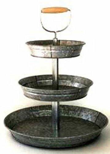 1 X 3 Tier Galvanized Round Metal Stand Outdoor Indoor