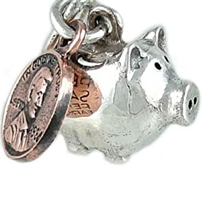 Piggy Bank Pig with Moving Penny 925 Sterling Silver Traditional Charm