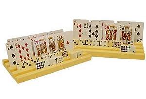 NEW Set of 2 Plastic Domino Racks/Playing Card Holders
