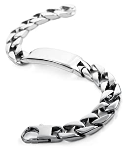 Justeel Jewelry Mens Silver 316l Stainless Steel Link Chain Bracelet Wrist Band Chains from Justeel Jewelry
