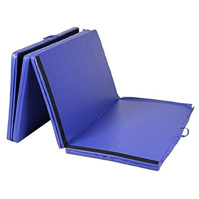 "Goplus Folding Gymnastics Gym Exercise Mats 4'x10'x2"" Stretching Yoga Mat Blue"