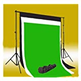 CowboyStudio Photography 10' X 20' Black, White & Chromakey Green Muslin Backdrops with 10 ft Crossbar Heavy Duty Background Support System Background Stand and Carry Bag