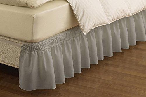 Grey Linen King Bed Skirt : Easyfit wrap around solid ruffled bed skirt queen king