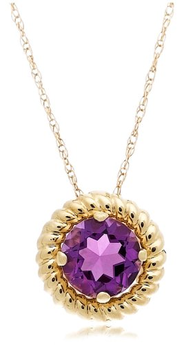 14k Yellow Gold Amethyst Rope Trimmed Pendant, 18""