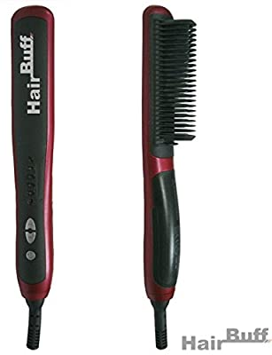 HairBuff® - Hair Straightener, Ceramic Hair Straightening Brush with a thermoplastic cover that protects from burning. Best hair straightener for thin and damaged hair. Reduce static and frizz.