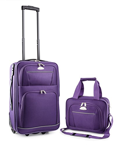 TravelCross Luggage 2 Piece Carry-On Set w/ TSA lock and Global Tracking System