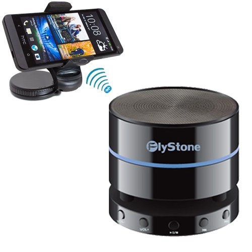Flystone® Apple Iphone 5S 360° Windscreenkit Mount Flex Grip Lightweight Windshield Dashboard Universal Car Mount Holder + Portable Wireless Bluetooth 4.0 Speaker (Fully Backward Compatible) Mini Speaker With 3.5Mm Aux Port, Built In Speakerphone 10 Hour
