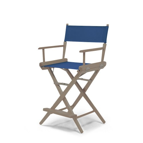 Telescope Casual World Famous Counter Height Director Chair, Rustic Grey With Blue Canvas Fabric