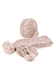 3 Piece Metallic Effect Knitted Hat, Scarf & Mittens Set