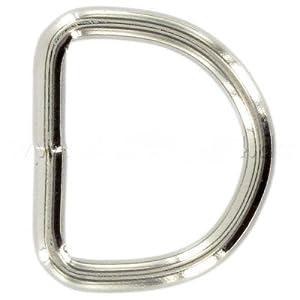 20mm D-Ringe geschweißt aus Stahl, vernickelt, 10 Stück