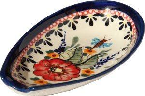 Polish Pottery Spoon Rest From Zaklady Ceramiczne Boleslawiec 1015-149 Art Unikat Signature Pattern (Polish Stoneware Spoon Rest compare prices)