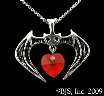 Vampire Bat Sterling Silver Charm Red Heart Necklace