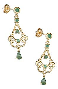 Sterling Silver 18kt Gold Plated Emerald Chandelier Earrings