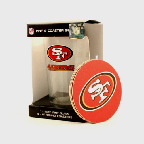 NFL San Francisco 49ers 16 oz Pint Glass & Coaster Set 4 Coasters Boxed Licensed at Amazon.com