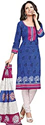 Tripssy Women's Cotton Printed Unstitched Salwar Suit (fb_dm_30, White And Yellow)