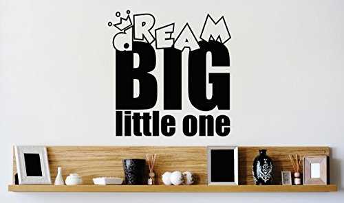 Design with Vinyl 1 Zzz 220 Decor Item Dream Big Little One Kids Baby Quote Wall Decal Sticker, 12 x 12-Inch, Black