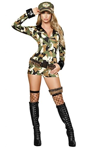 Sexy War Games Military Girl Camo Romper Halloween Costume