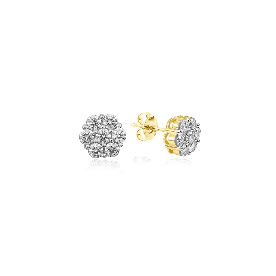 14k Yellow Gold Diamond Cluster Stud Earrings (1/2 cttw, I J Color, I2 I3 Clarity)