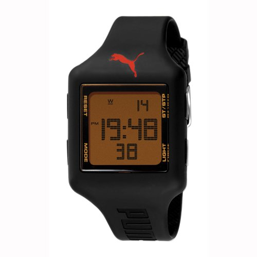 PUMA Unisex PU910791001 Slide-Large Black Red Digital Watch