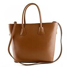 Sac Shopper En Cuir Véritable Pour Femme, 2 Glissières Latérales Cognac - Maroquinerie Fait En Italie - Sac Femme