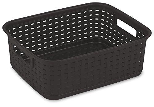 Sterilite 12726P06 Short Weave Basket, Espresso, (Pack of 6)
