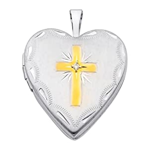 "14K White and Yellow 2 Two Tone Gold Cross Diamond-Accent Engraved Heart Locket Pendant (0.8"" Inches or 20mm, 1/10 ctw., GH, SI)"