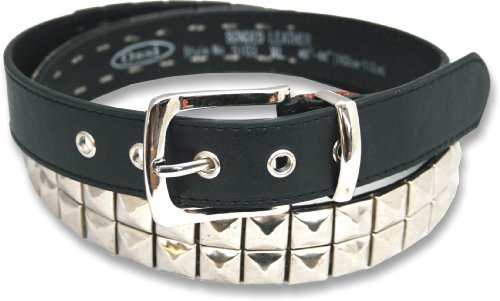 "Leather 2 Row Pyramid Studded Stud Black Belt Large (36"" - 40"")"