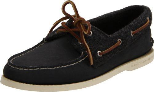 SPERRY TOP-SIDER MENS A/O 2-EYE BLACK/GREY WOOL (12, BLACK/GREY WOOL)